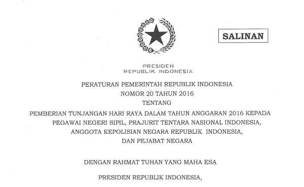 PP No 20 Tahun 2016 - THR PNS