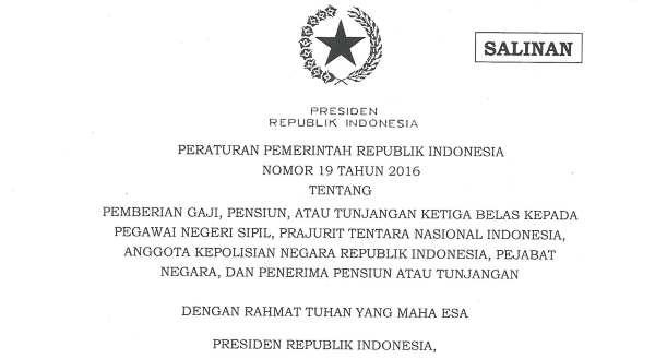 PP 19 Tahun 2016 - Gaji 13